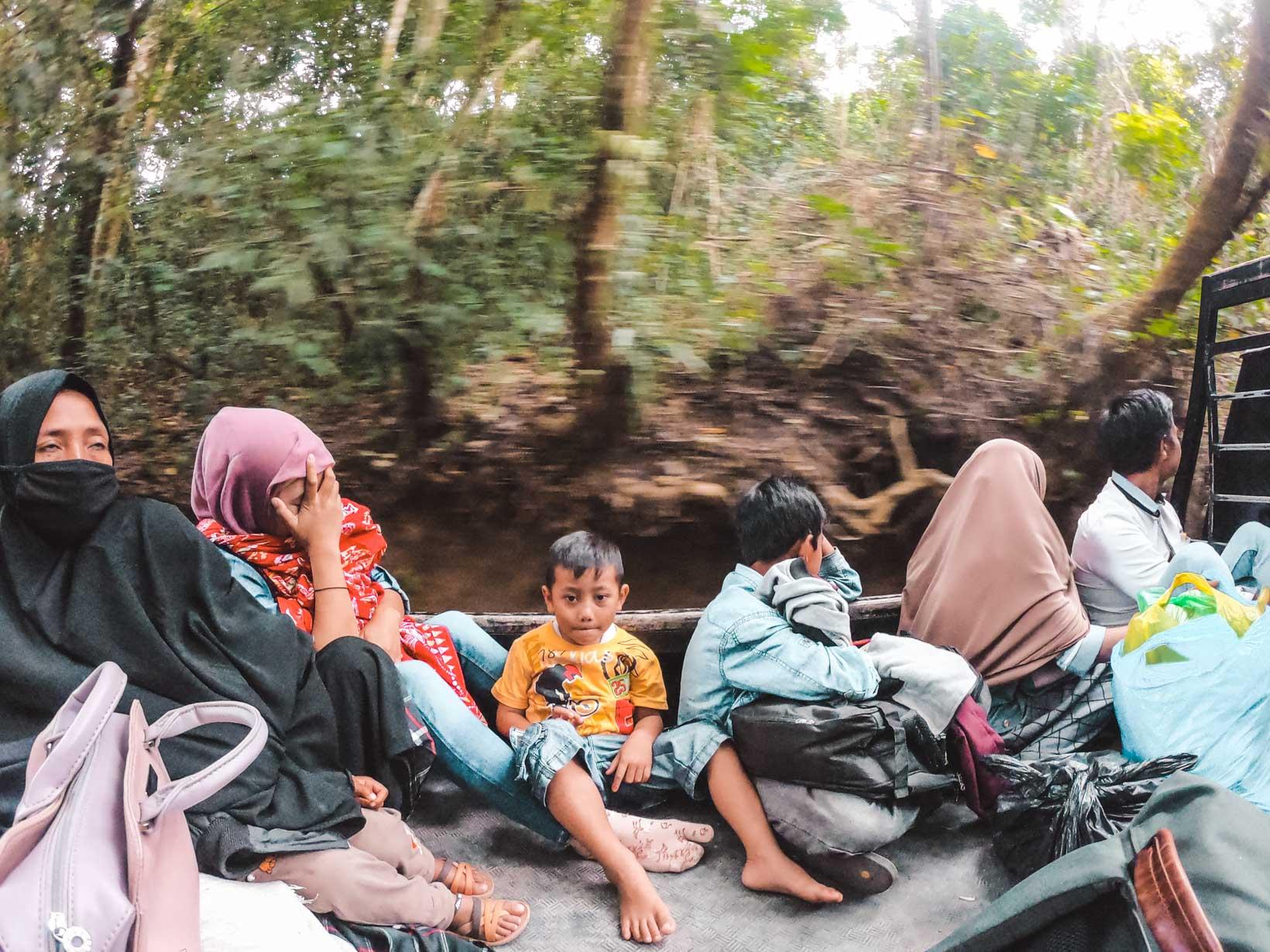 Trasporto in un cassone a Lombok