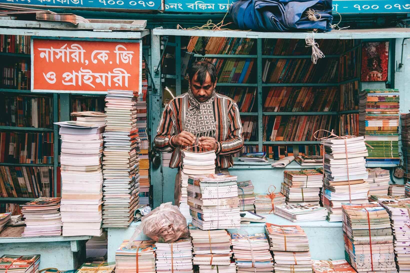 College street la via dei libri a Calcutta