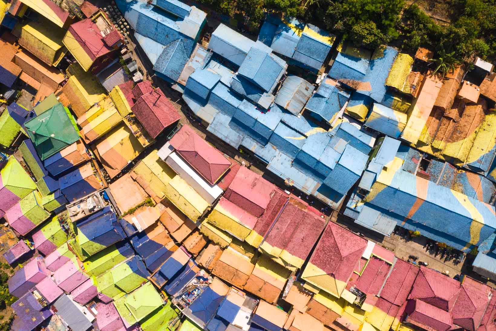 Villaggio arcobaleno Malang vista drone